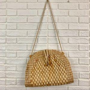 Vintage wicker straw basket shoulder purse bag VTG